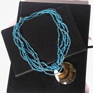 Statement turquoise color abalone necklace